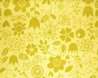 Sunny Happy Skies olive green tone on tone print by Riley Blake.