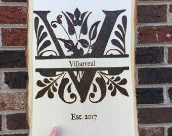 Wood burned Family Name Plaque