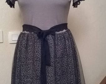 Cotton and mesh color gray and black dress