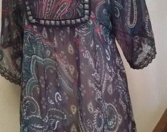 Short sleeve printed chiffon tunic