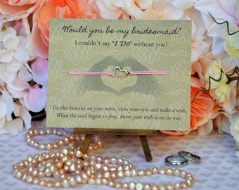 Bridesmaid Wish Bracelet, Bridesmaid Gift Heart, Wish Bracelet, Will You Be My Bridesmaid?, Bridesmaid Proposal, Wedding, Heart, Heart Gift