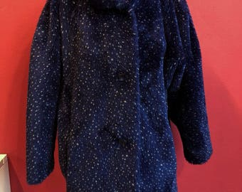 80's fake fur blue with white dots