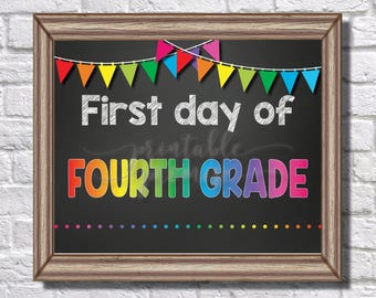 First Day of Fourth Grade Sign || Rainbow || Banner || Polka Dots || Chalk || Teacher || 4th Grade || First Day of School || Back to School
