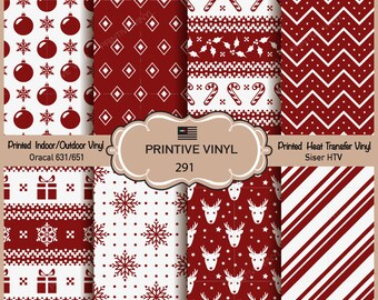 Merry Christmas Holiday symbols Printed Pattern Vinyl/Siser HTV/ Oracal/ Indoor Vinyl/ Outdoor Vinyl/ Heat Transfer Vinyl- 291