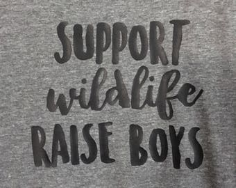 "XS Grey slouchy ""Support wildlife raise boys"" tank"
