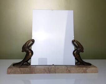 Frame for picture Art Deco Toucan spelter on marble base