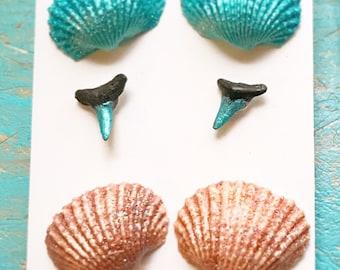 Set Of 3 Stud Earrings. Seashell Earrings. Sharks Teeth Jewelry.