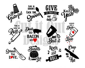 12 KITCHEN towel designs SVG - Funny Kitchen quotes - cut files -  Kitchen themed - set of 12 - bundle  - vector - FUNNY gift idea