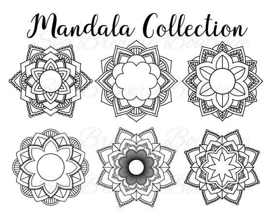 Download Mandala flower circle monogram frame SVG layered PNG