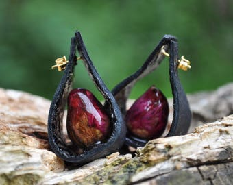 Secret Roses Earrings with Black Leather【hypoallergenic】