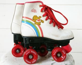 Children's Vintage Care Bear Rollerskates. Children's Care Bear 1980s Rollerskates. Retro Rollerskates for Kids. 1980s Kids Roller Skates.