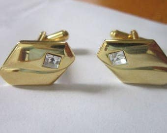 Vintage Retro Fancy Dress Cuff Links Gold Tone & Faux Diamond