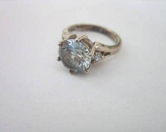 Vintage Sterling Silver Ladies  Ring with Large Solitaire Aquamarine Stone & 2 small faux diamonds