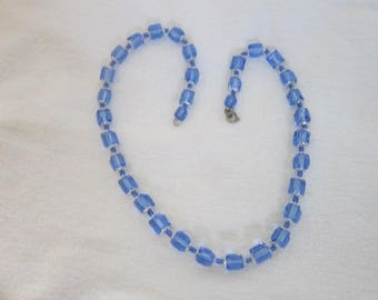 50's Retro Blue Cut Crystal & Chrome Necklace  Modern