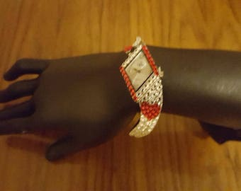 Swarovski adorned art deco inspired ladies cocktail watch - a perfect gift for Valentines Day!