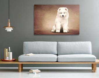 Samoyed breed puppy print on canvas