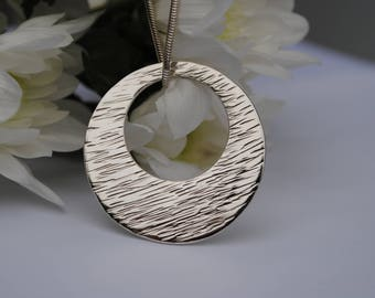 Silver Circle Necklace, Silver Circle Pendant, Open Circle Necklace, Silver Disc Necklace, Statement Necklace, Silver Pendant, Gift for Her