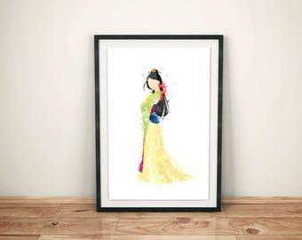 Mulan Illustration Watercolor Art Poster Print - Wall Decor - Watercolour Painting - Home Decor - Kids Decor - Nursery Art - Disney Princess