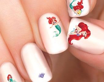 Ariel Little Mermaid Disney nail transfers - illustrated nail art decals - Little Mermaid Ariel, Princess - Disney nail stickers