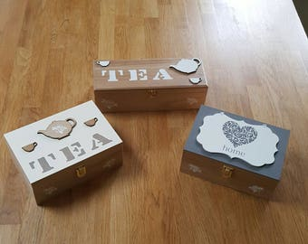 Beautiful Handpainted Wooden Teabag Boxes/Storage Boxes