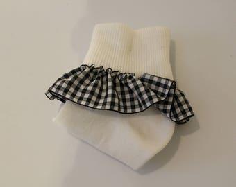 Girls' Ruffled Sock- Black/White Gingham