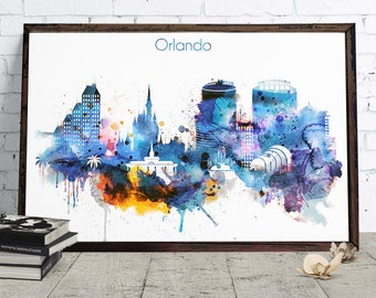 Orlando Watercolor Decor, Downloadable Watercolor City Art, Orlando Cityscape, Home and Office poster, Skyline Digital Download