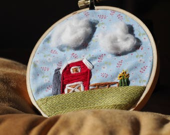 Red Barn Embroidery (Multi-Media)