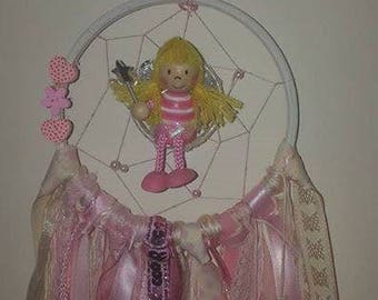 dreamcatcher with 3D fairy middle in pinks and creams can be customised