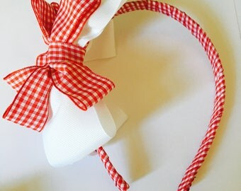 White & Red Gingham Hairband