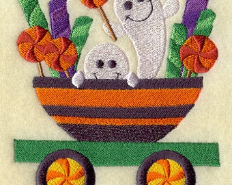 Trick-or-Treat Train - Ghosts with Candy, Embroidered Halloween Dish Towel, Halloween Tea Towel, Cute Halloween Kitchen Decoration