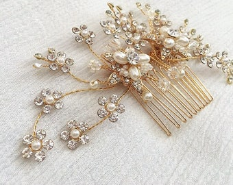 Gold Pearl Comb, Floral Bridal Comb, Wedding Hair Accessory, Crystal Hair Comb