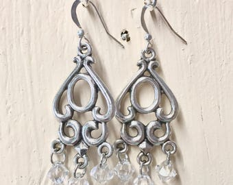 Beautiful antique silver chandelier earrings with Swarovski faceted crystal beads // Gift for her
