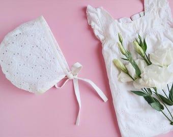 SALE White lacy baby bonnet