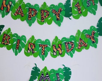 1st Birthday Pesonalised Jungle Safari Theme Banner