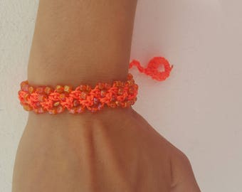 This bracelet is crocheted with seed beads