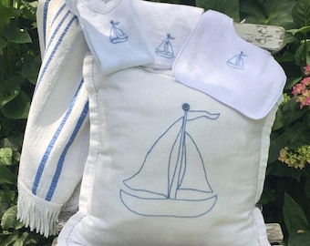 Baby Gift Set of Hand Embroidery Vintage Sailboat