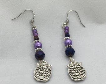 Stainless steel earrings - owls and purple