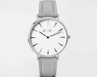 Ladies Watch, Women Leather bracelet, minimalist, gift for her, cheap leather watch, Christmas Watch, Grey Leather (Silver/White)