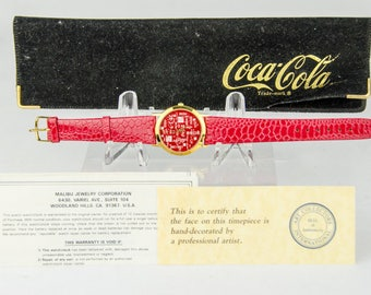 Super Rare Hand Painted Coca Cola Coke in Every Language LOGO Watch