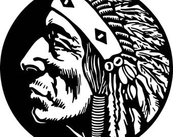 American Indian  # 3 in SVG / Eps / Dxf / Jpg files INSTANT DOWNLOAD!