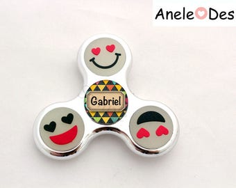 Spinner Hand Spinner - Child - blue yellow green Smiles cabochon trendy kids school name