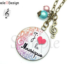 Necklace I love purple, blue pink music note love music original vintage lace beads