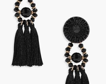 Trio Tassel Statement Drop Earrings - Floral Bead Pattern Tassel Earrings