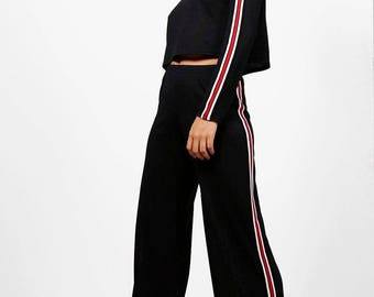 Stripe Detail Wide Leg Lounge Set - Sporty Knitted Lounge Set