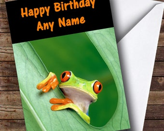 Frog In A Leaf Personalised Birthday Card