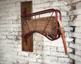 Antique Ornate Cast Iron Hotel or Building Fire Hose Rack w/ Hose & Brass Nozzle