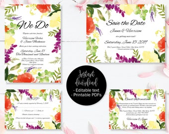 Wedding Invitation Template Set, Save the Date, Invite, RSVP, Guest Information, Editable Printable Wedding Templates, Border 2 SETA-2