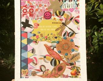 "Collage ""Sisters are 2 flowers from the same garden"" encadré en bois blanc 30x40cm"