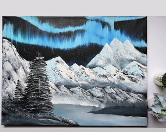 Original Winter Northern Lights Oil Painting