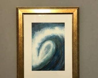 Original Artwork Wave pastel drawing framed
